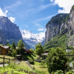 Bern, summer, mountain, panorama, garden, meadow, snow, forest, waterfall, village